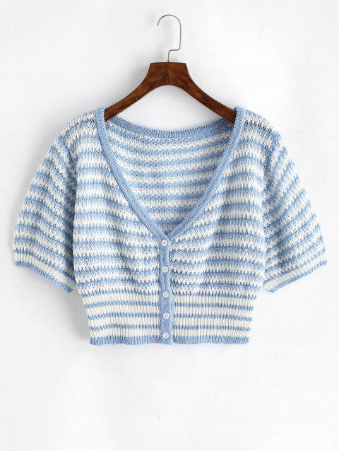 Plus Size V Neck Striped Button Up Cropped Cardigan