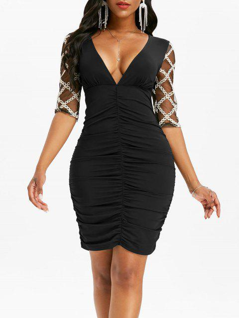 Lace Half Sleeve Plunging Neck Bodycon Dress