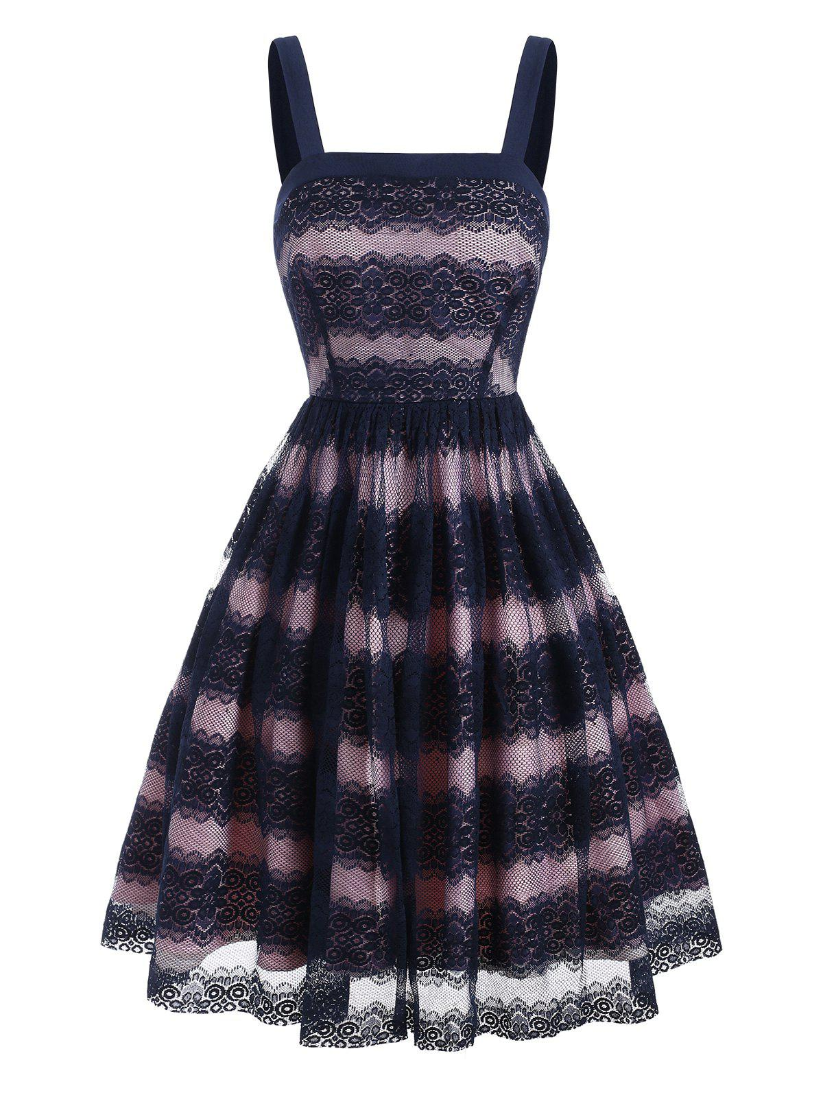 Lace Overlay Square Neck Colorblock Dress - DEEP BLUE S