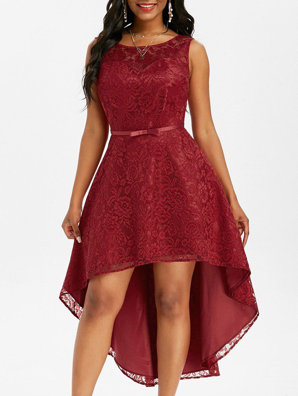 Lace V Back Dip Hem Midi Party Dress - DEEP RED M