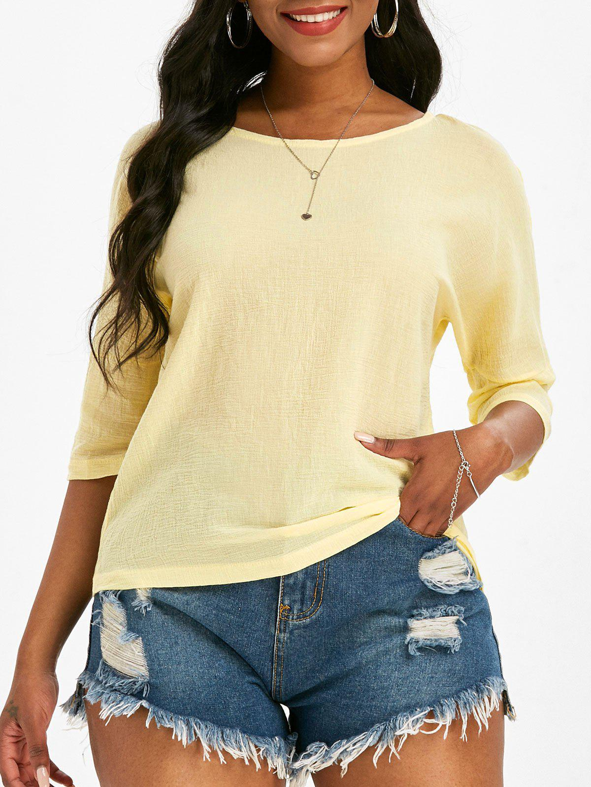 Plain Dolman Sleeve Blouse - YELLOW S