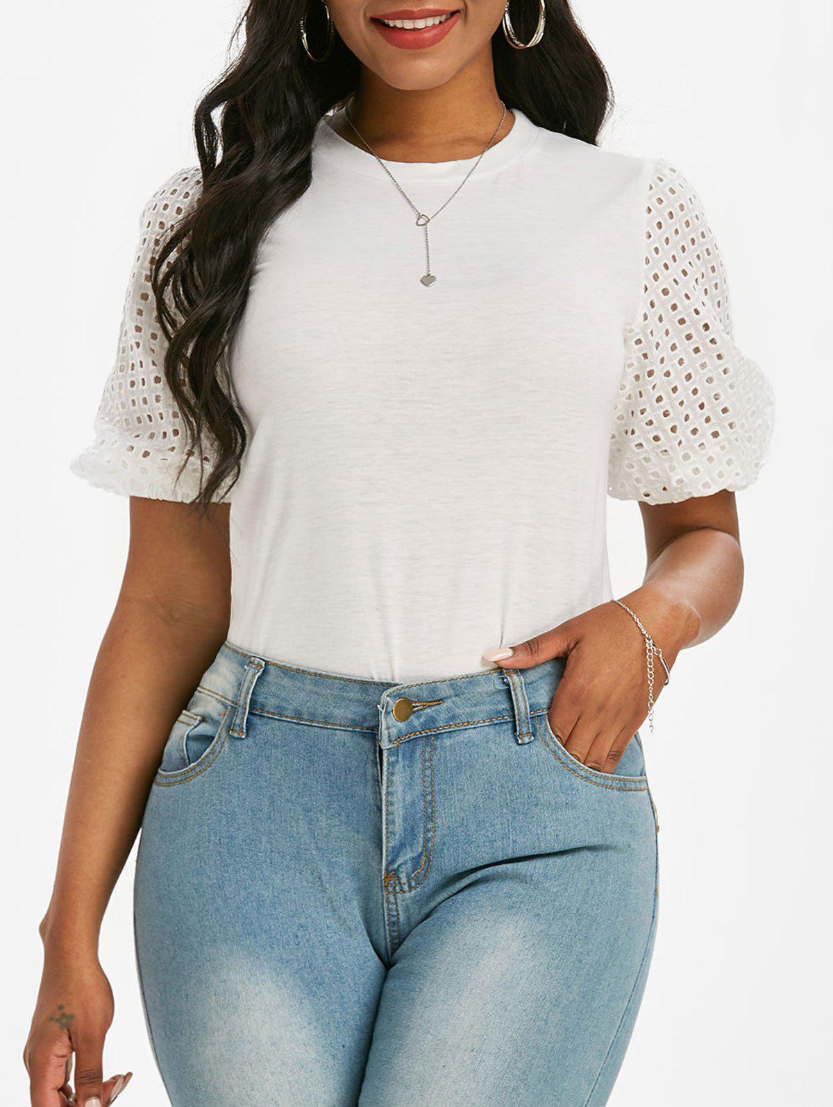 Broderie Anglaise Sleeve T-shirt - WHITE XL
