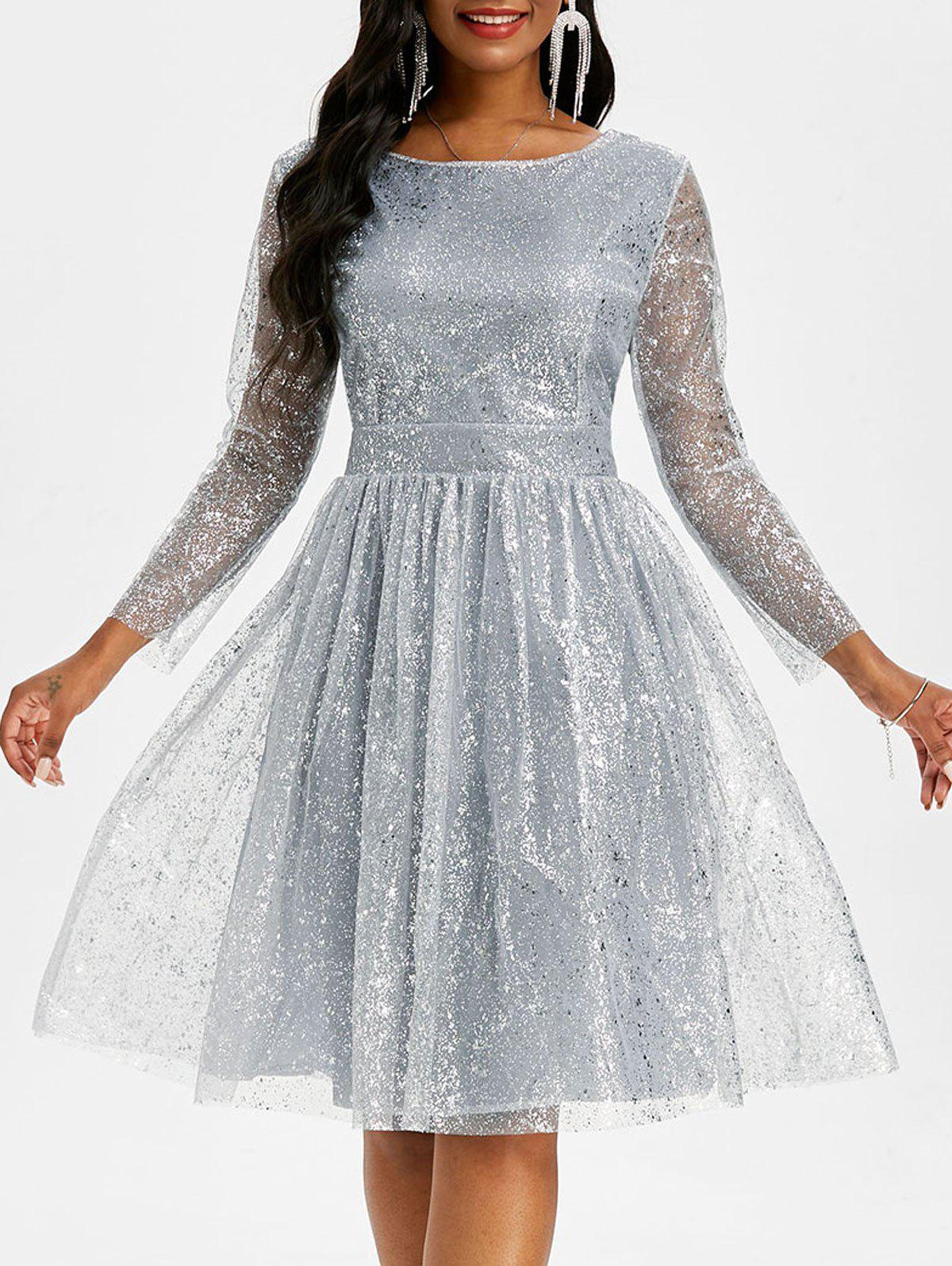 Sparkly Mesh Overlay Open Back Ball Gown Dress - GRAY 2XL