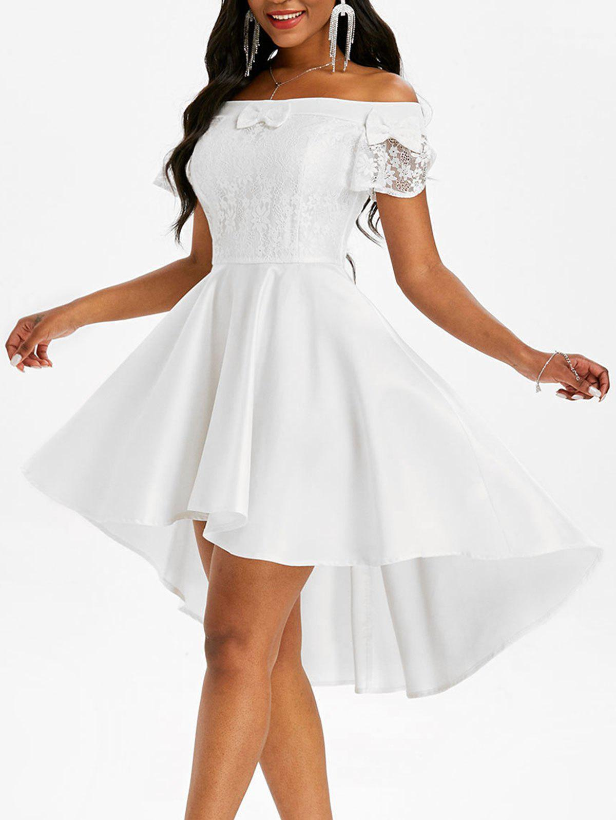 Lace Insert Bowknot Off Shoulder High Low Dress - WHITE XL