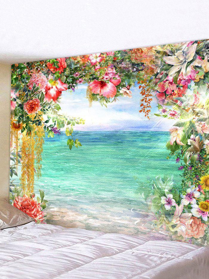 Flower Lake 3D Print Wall Tapestry - multicolor W59 X L51 INCH