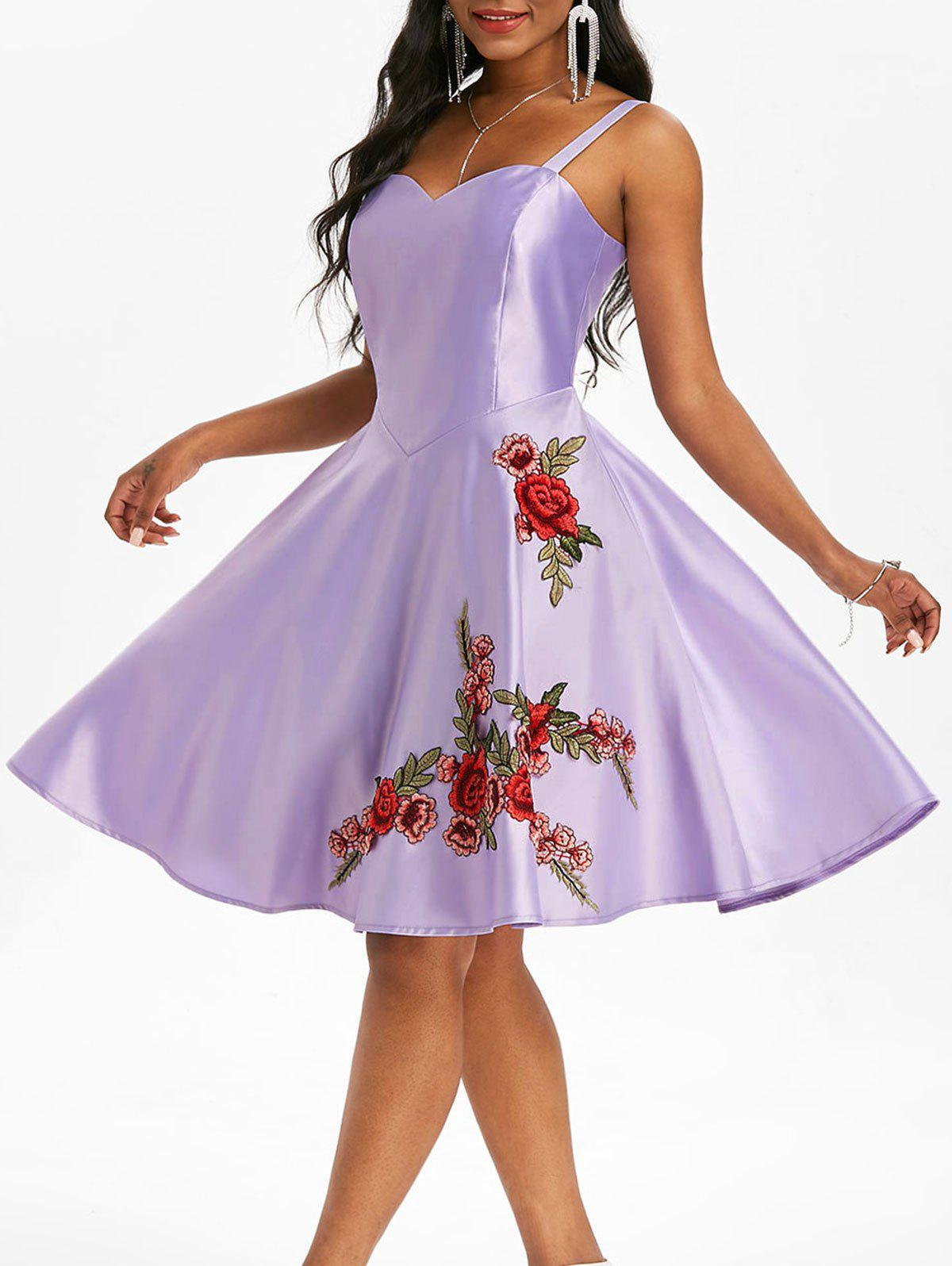 Applique Flower Party A Line Dress - PURPLE 2XL