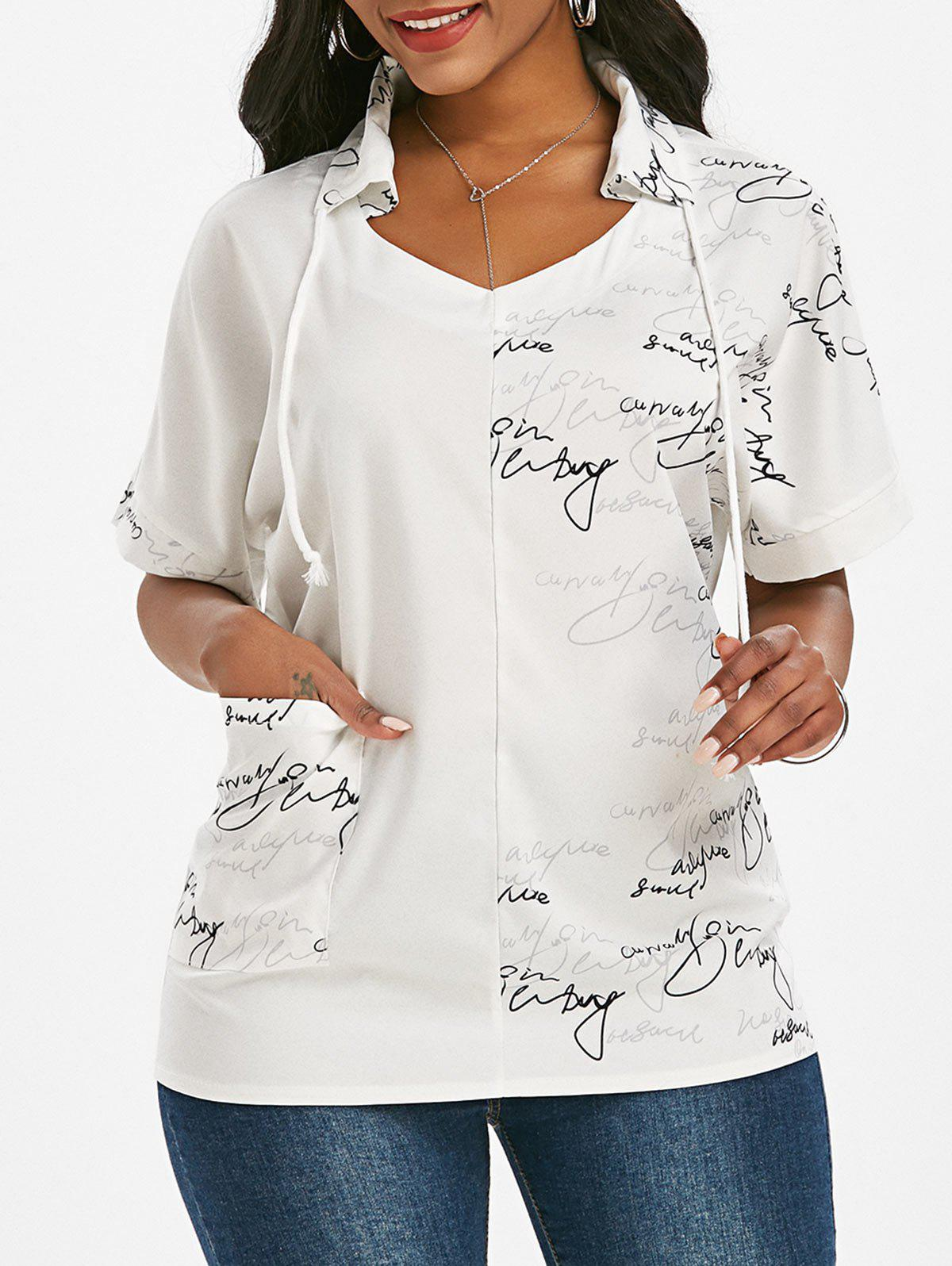 Drawstring Letter Graphic Front Pocket Top - WHITE XL