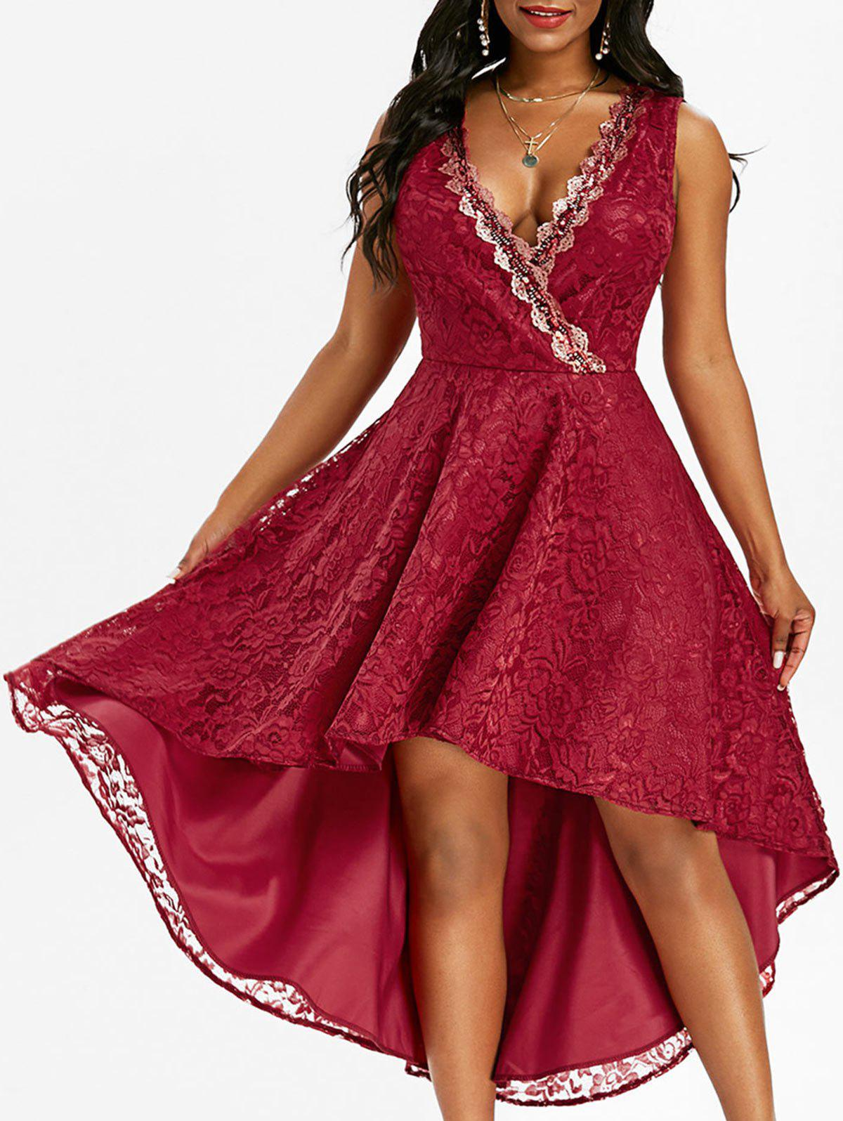 Lace Sequined Surplice Dovetail Dress - RED M