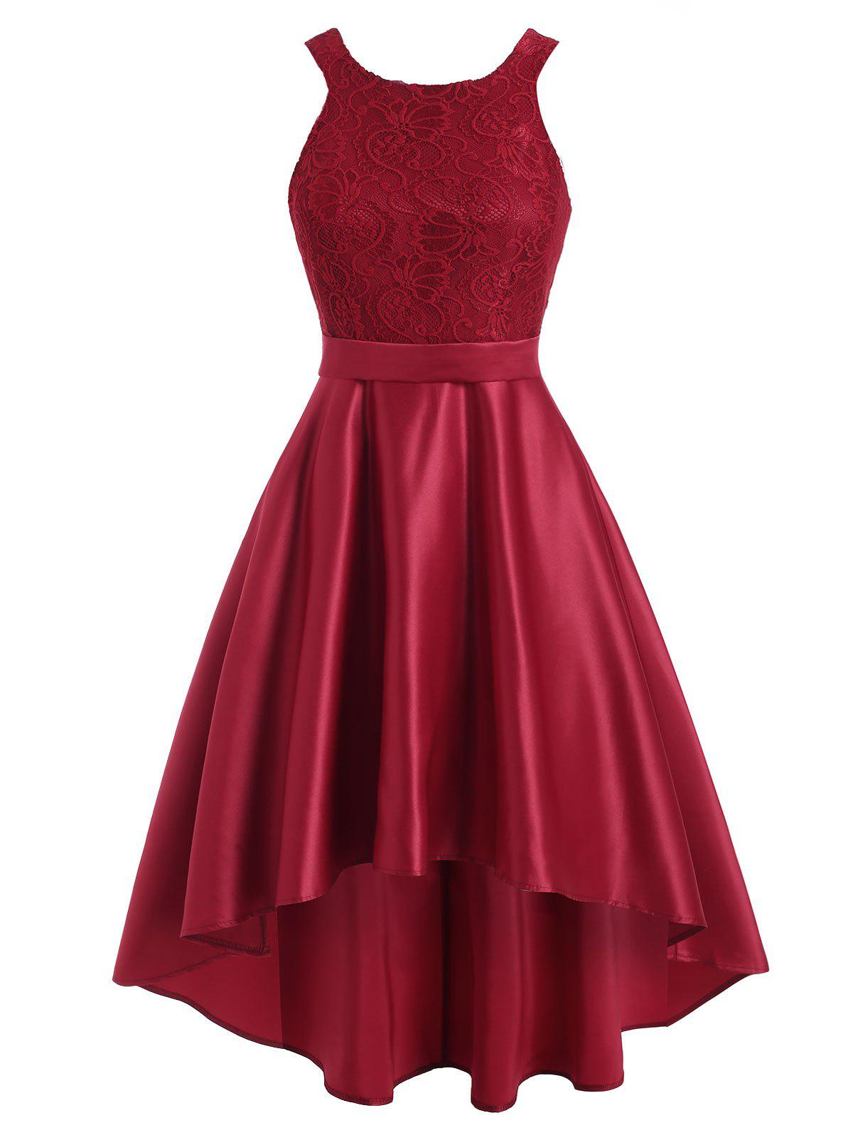 Lace Insert Sleeveless High Low Dress - RED L