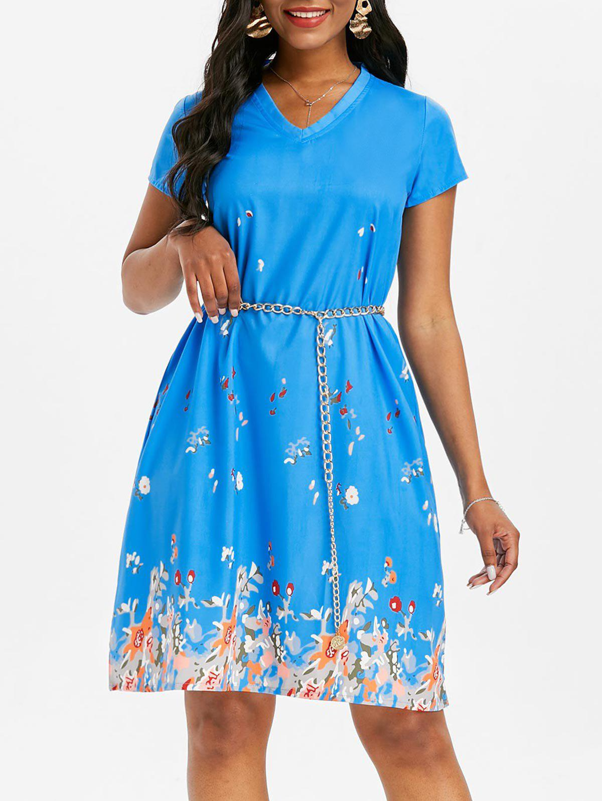 V Neck Printed Trapeze Dress - BLUE 3XL