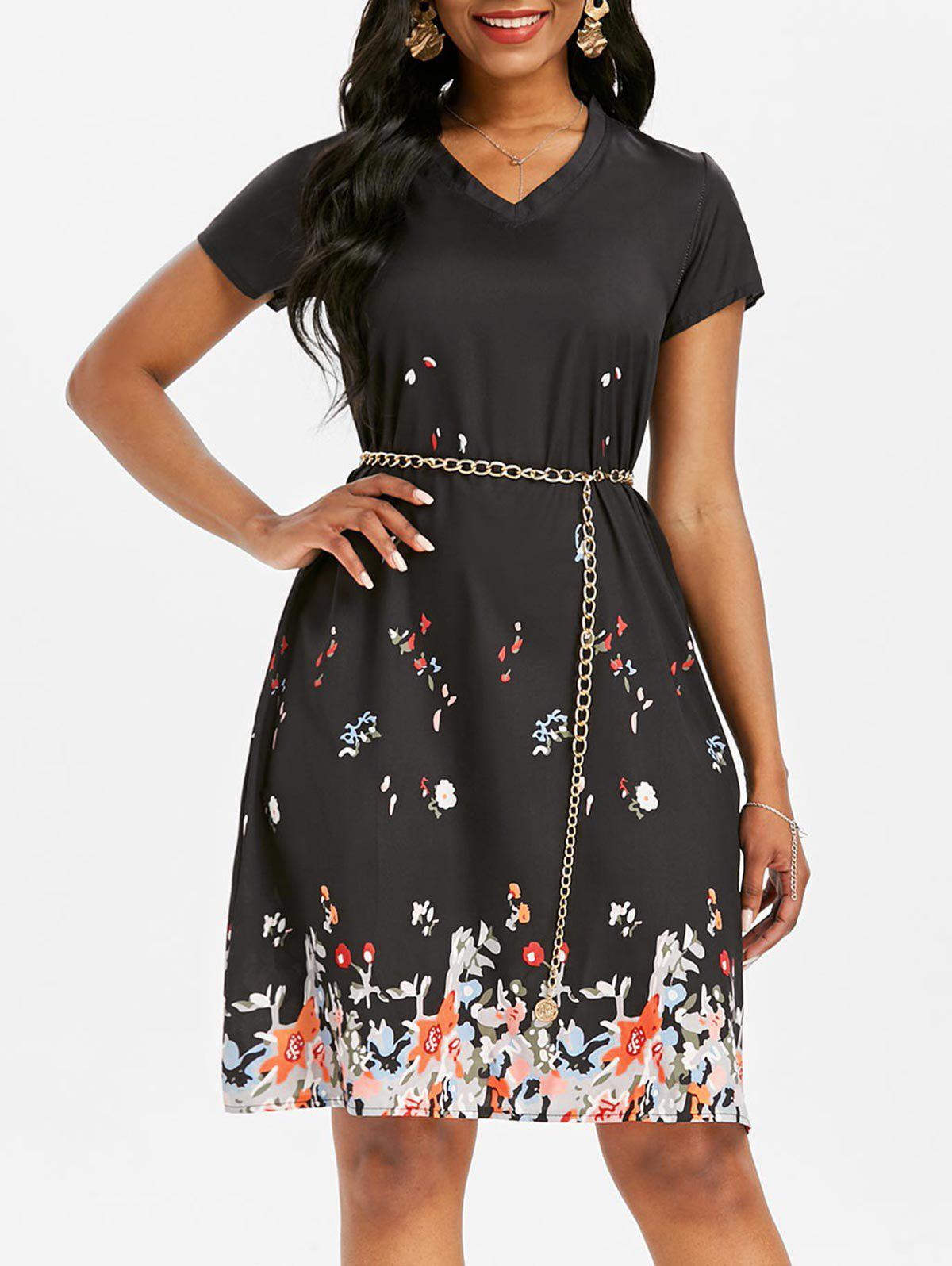 V Neck Printed Trapeze Dress - BLACK S