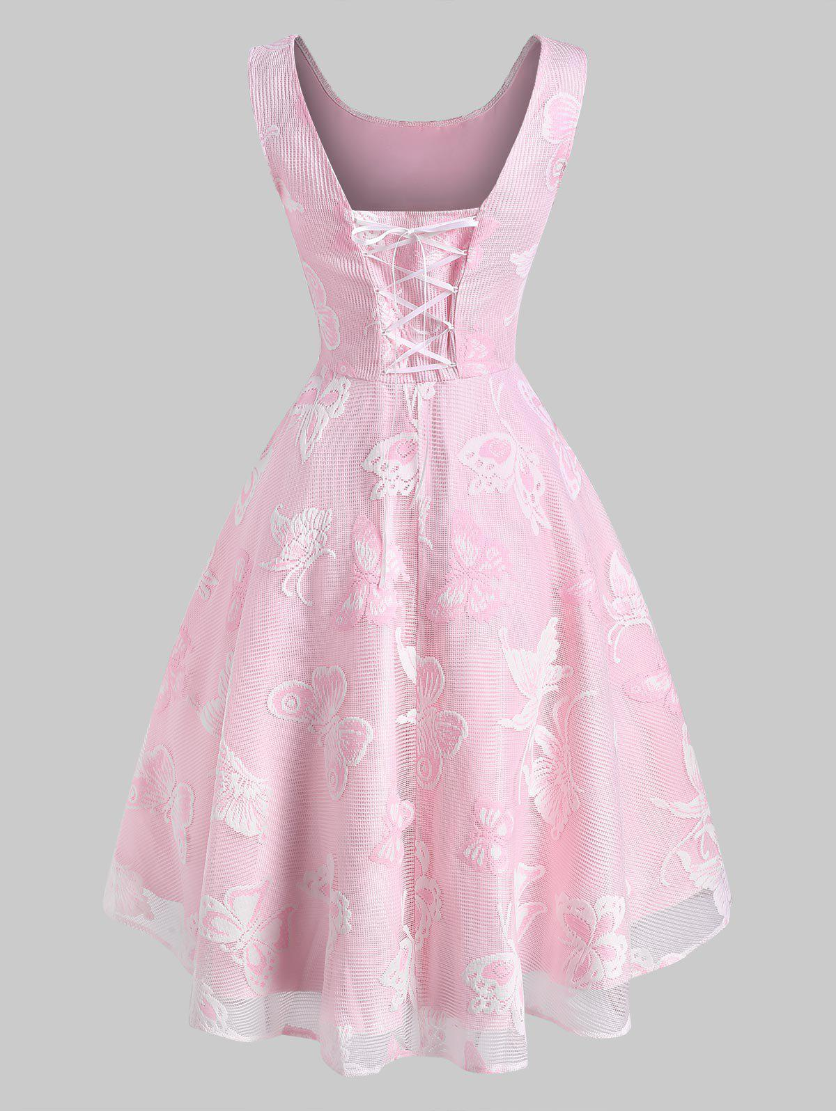 Flower Butterfly Lace Overlay Lace-up High Low Dress - LIGHT PINK L