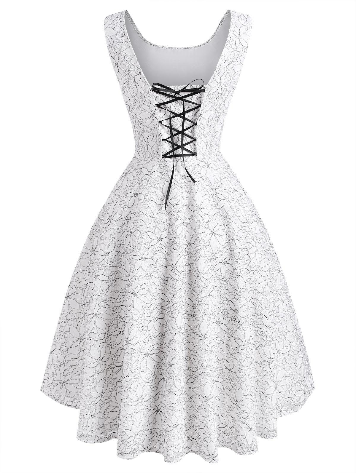 Flower Butterfly Lace Overlay Lace-up High Low Dress - WHITE XL