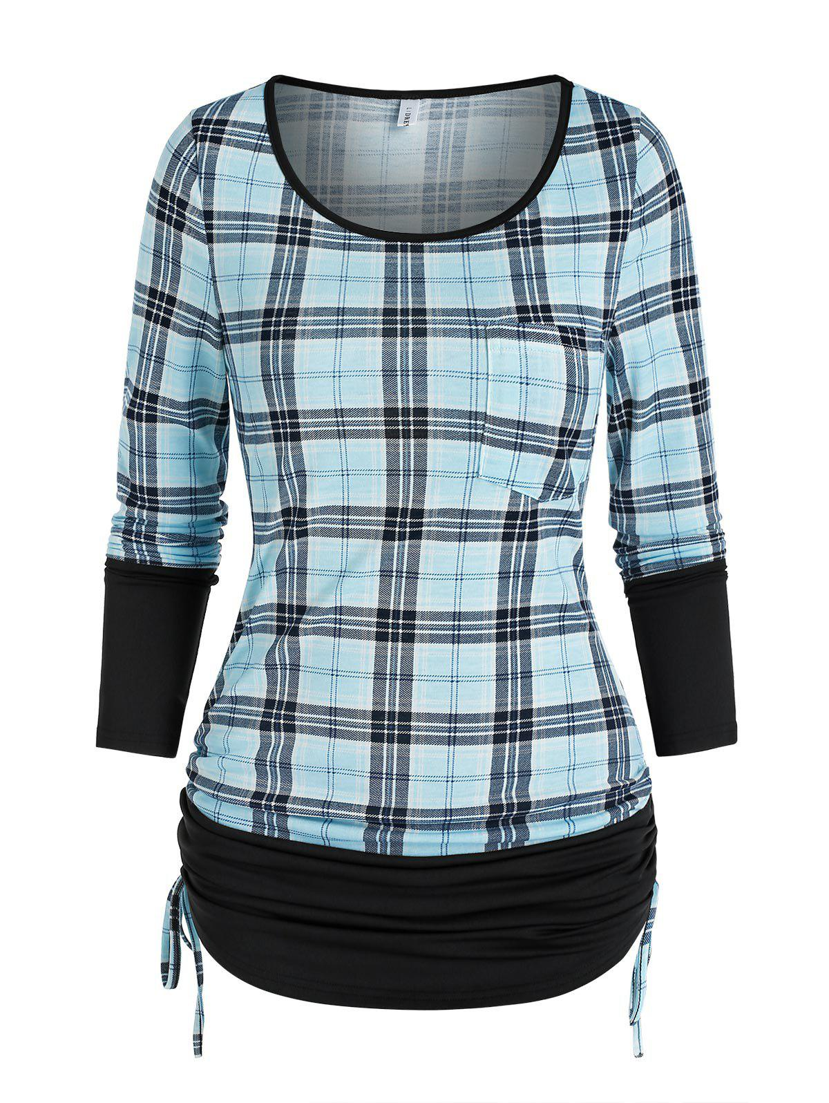 Checked Pocket Cinched T Shirt - LIGHT BLUE 2XL