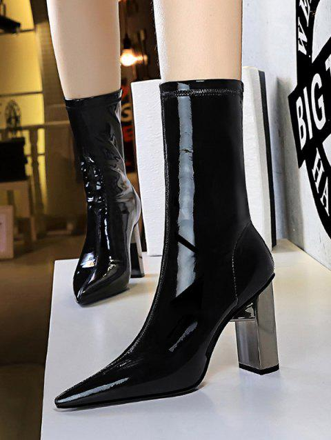 Patent Leather Metallic Chunky Heel Mid Calf Boots