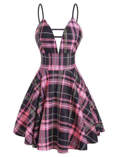 Plaid Plunge Front Ladder Cut Skater Dress
