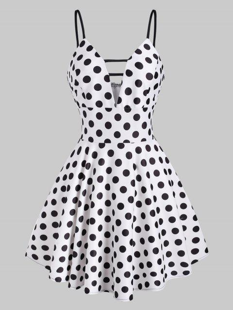 Polka Dot Ladder Cut Cami Skater Dress