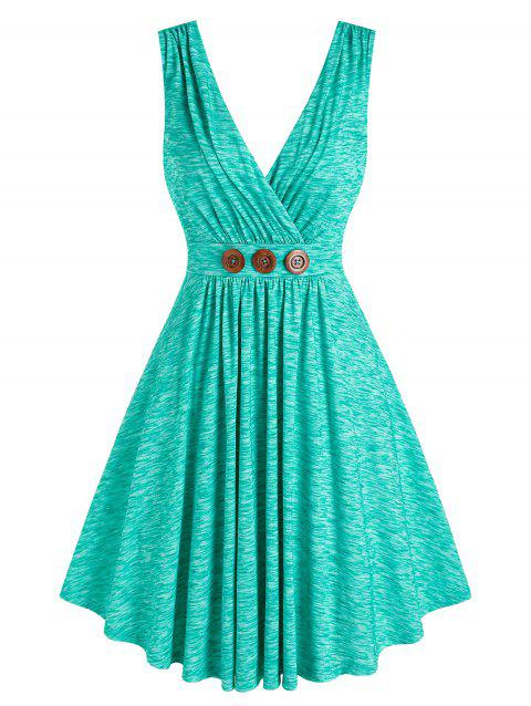 Pleated Buttons Flare Surplice Dress