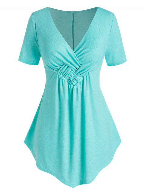 Plus Size Ruched Cross T Shirt