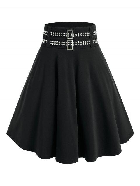 Plus Size Studded A Line High Rise Skirt