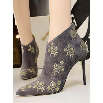 Retro Golden Flower Embroidered Suede Ankle Boots