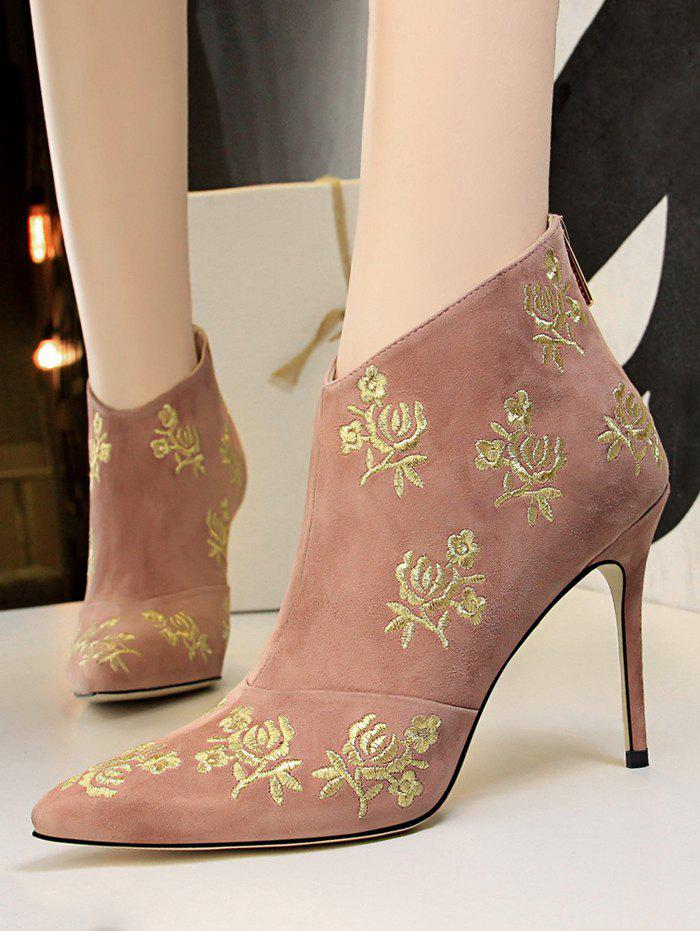 Retro Golden Flower Embroidered Suede Ankle Boots - PINK EU 40