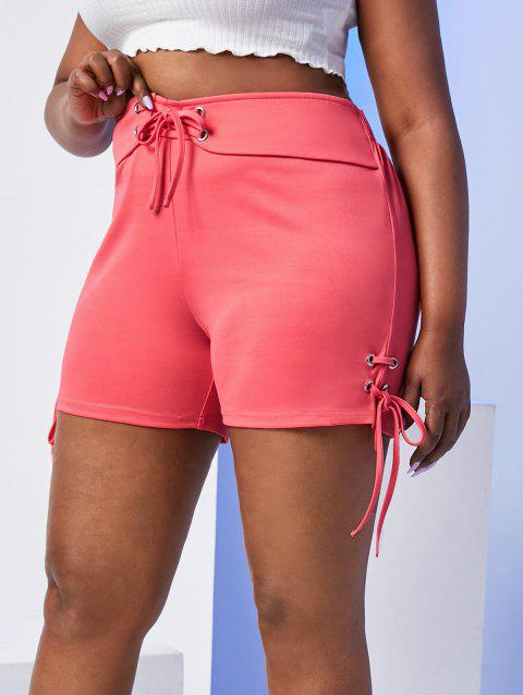 Plus Size Lace Up High Waisted Shorts