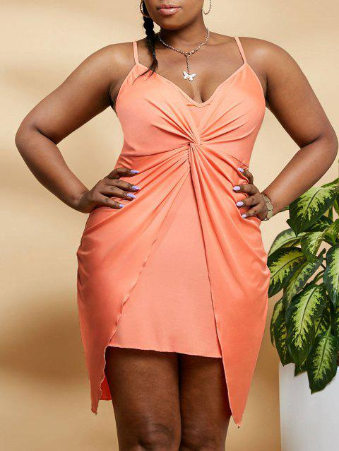 Plus Size Twisted Front Overlap Mini Cami Dress