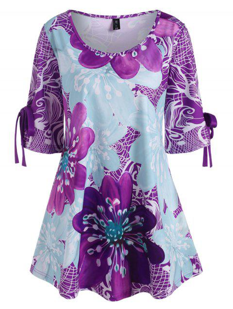 Plus Size Floral Tied Cuffs Half Sleeve Top