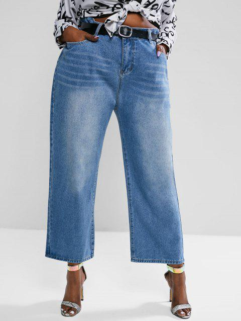 Plus Size High Waisted Straight Leg Light Wash Jeans