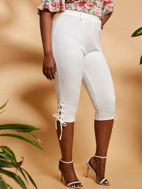 Plus Size High Rise Lace Up Cropped Leggings