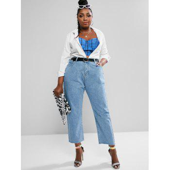 Plus Size High Waisted Raw Hem Tapered Mom Jeans