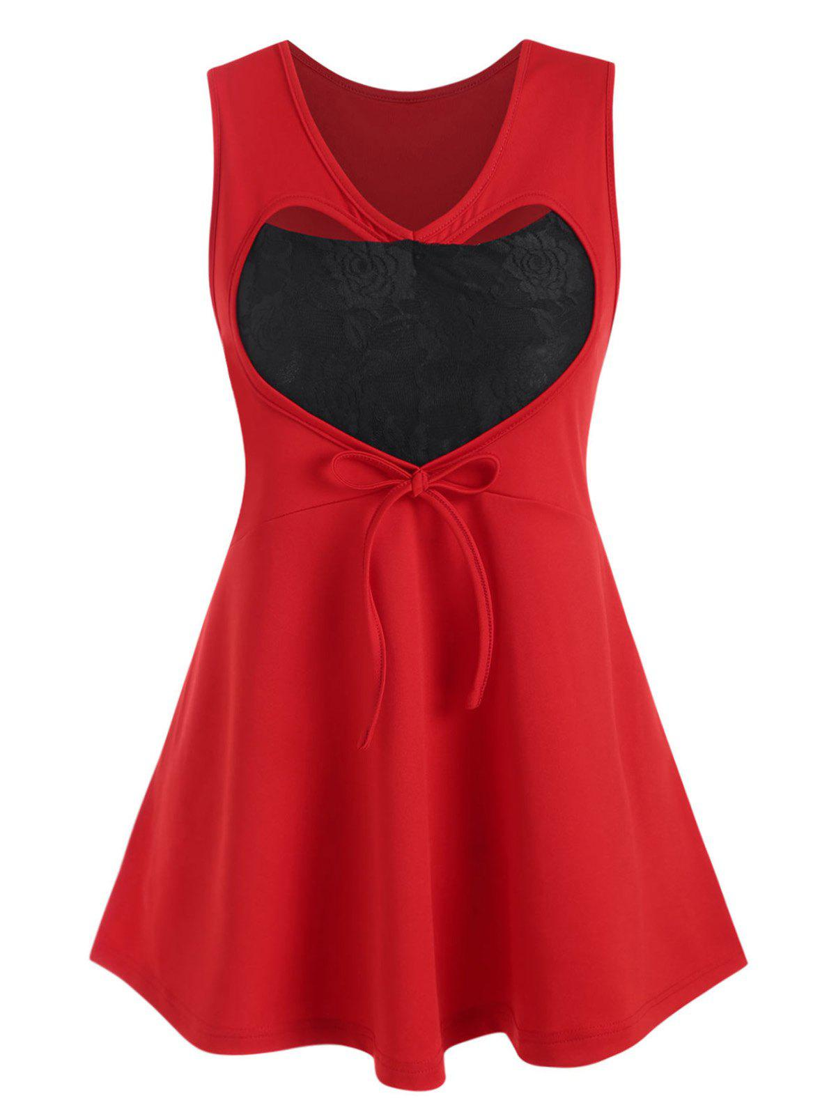 Plus Size Valentine Heart Lace Insert Tied Tank Top - RED 4X