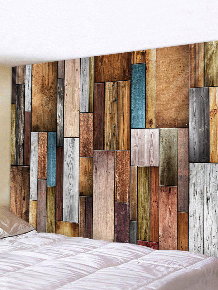 Wooden Plank 3D Print Wall Tapestry - multicolor W91 X L71 INCH