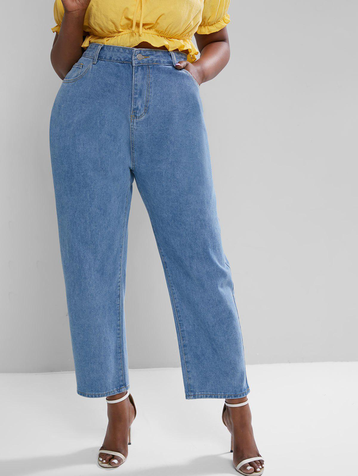 Plus Size High Rise Pocket Wide Leg Jeans - BLUE 4XL