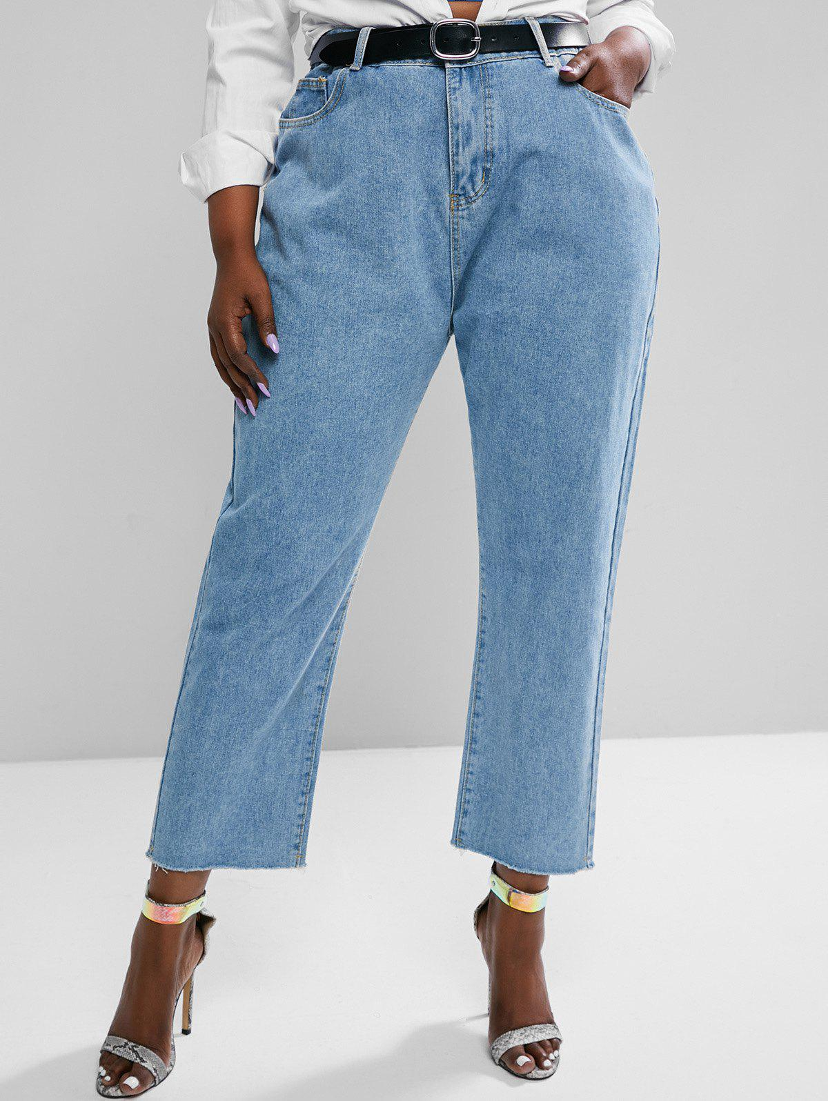 Plus Size High Waisted Raw Hem Tapered Mom Jeans - LIGHT BLUE 3XL
