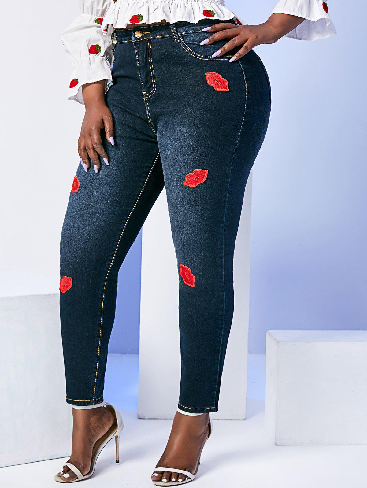 Lips Patched Mid Rise Plus Size Skinny Jeans - BLACK 6XL