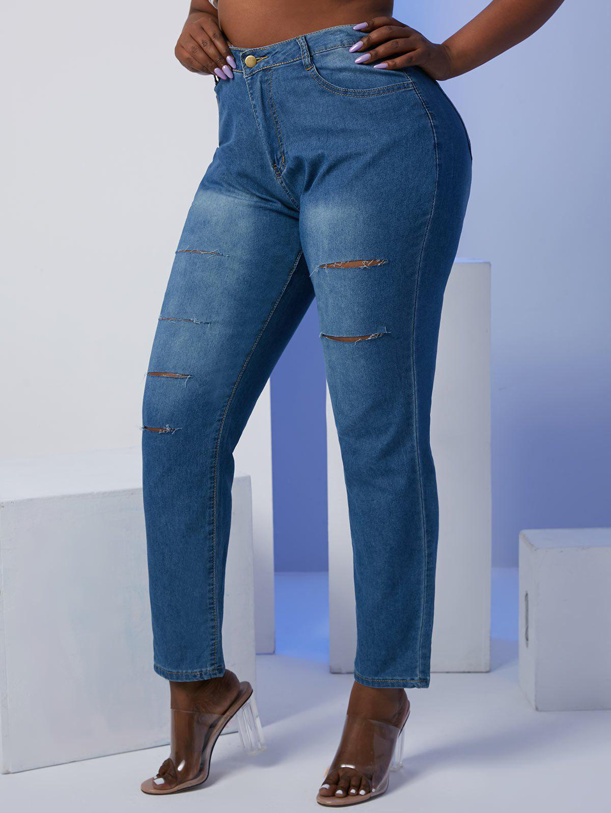 Ladder Ripped Mid Rise Plus Size Skinny Jeans - BLUE 5XL