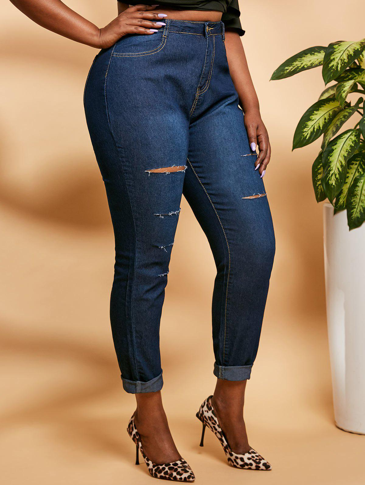 Ladder Ripped Mid Rise Plus Size Skinny Jeans - DEEP BLUE 5XL