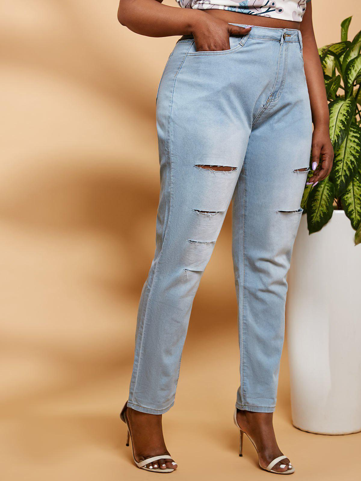 Ladder Ripped Mid Rise Plus Size Skinny Jeans - LIGHT BLUE 2XL