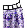 Plus Size Plaid Print Cutout Ruched Draped Tankini Swimwear - PURPLE 2X