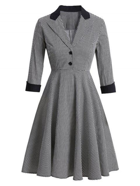 Houndstooth Lapel Mock Button Rolled Sleeve Dress