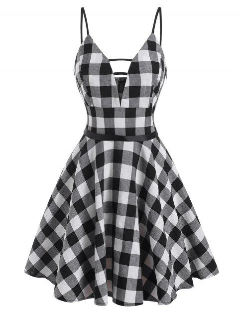 Gingham Ladder Cut Plunge Front Dress