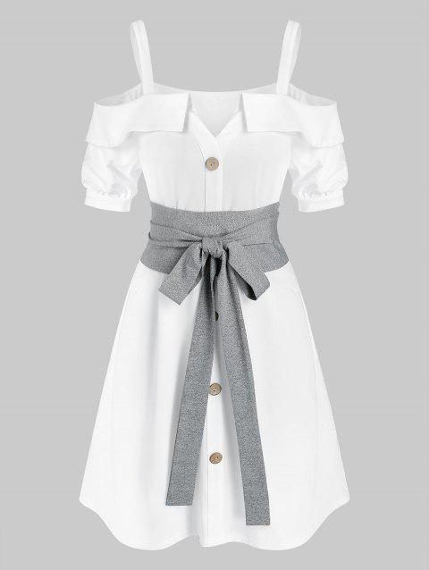 Cold Shoulder Button Through Belted Dress