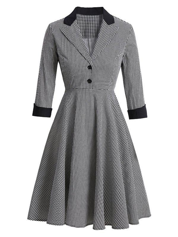 Houndstooth Lapel Mock Button Rolled Sleeve Dress - WHITE S