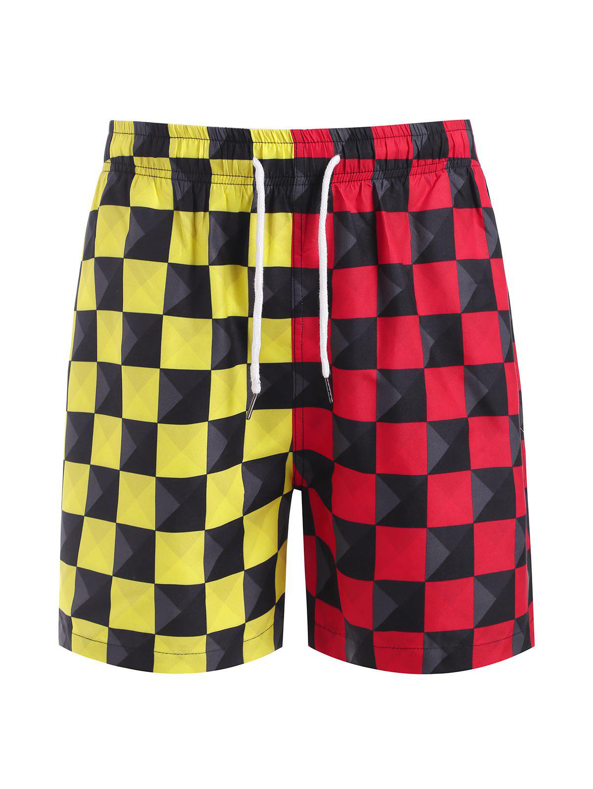 Contrast Checkerboard Print Casual Shorts - RED M