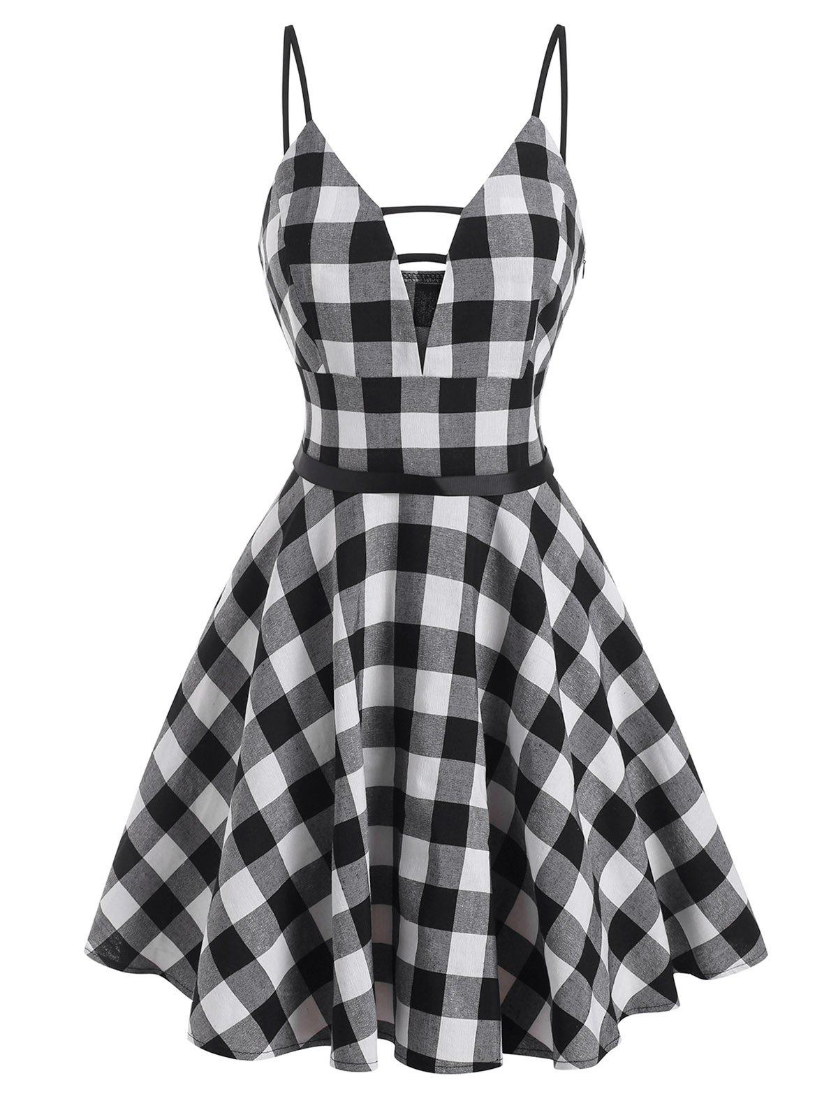 Gingham Ladder Cut Plunge Front Dress - BLACK S