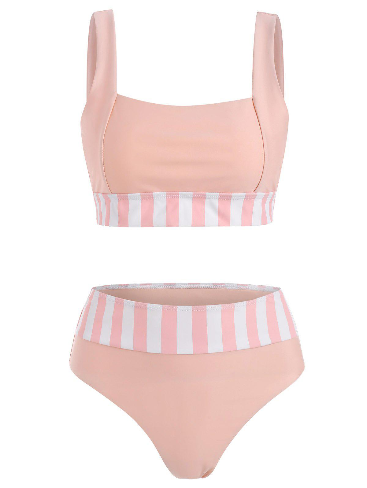 Striped High Waisted Square Neck Bikini Swimwear - LIGHT PINK XXL