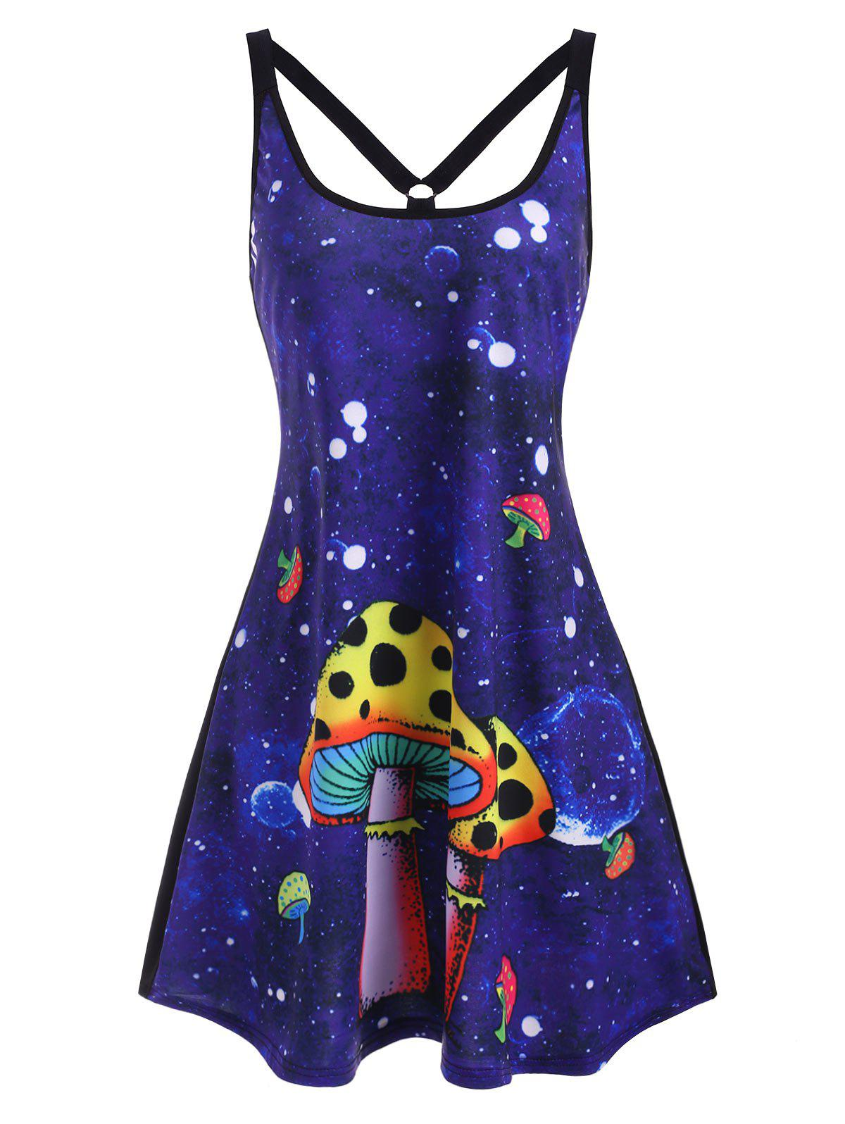 Mushroom Print O Ring Strappy Tank Dress - BLUE XL