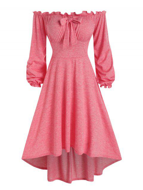 Off The Shoulder Bowknot High Low Dress